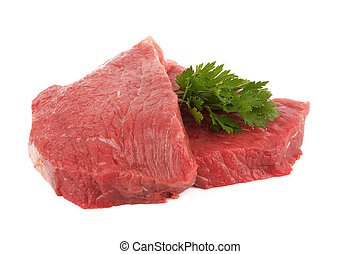 steaks - Two round steaks on a white background