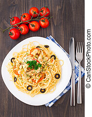 Pasta with chicken brest on a plate