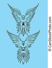 tattoo tribal birds vector art