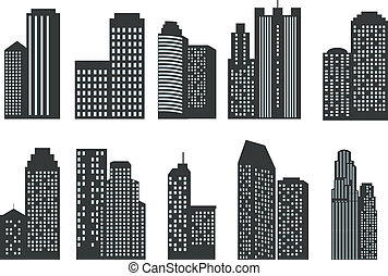 Silhouettes of skyscrapers Vector set