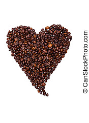 Coffee beans laid out a heart isolated on white background