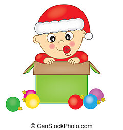 Baby dressed as Santa Claus in a gift box