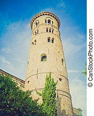 Ravenna, Italy retro looking - Duomo Battistero Neoniano in...