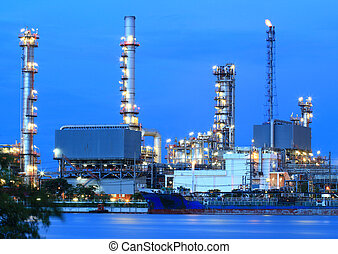 Refinery plant area at twilight.