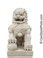 Chinese Imperial Lion Statue on white background clipping...