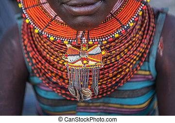Turkana jewellery  - Necklaces adorn a Turkana woman's neck