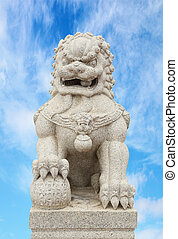 Chinese Imperial Lion Statue with sky - Chinese Imperial...