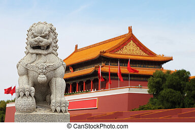 Chinese Imperial Lion Statue with Palace Forbidden city...