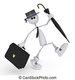 The 3D white little man with a portfolio. - The businessman...