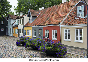 Houses in the old town of Odense - Ancient houses in the old...