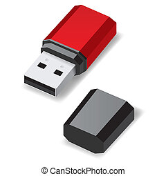 USB flash drive. - Red USB flash drive with black cap...