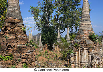 Ancient Crumbling Stupa - Ithein - Myanmar - Ancient...