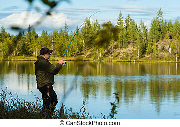 Fisherman and landscape - Fisherman on the little lake,...