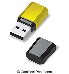 USB flash drive. - Yellow USB flash drive with black cap...