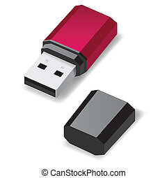 USB flash drive. - Dark red USB flash drive with black cap...