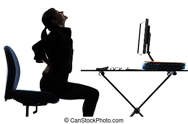 business woman sitting backache pain silhouette - one...