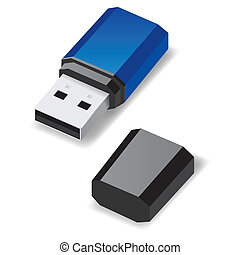 USB flash drive. - Blue USB flash drive with black cap...