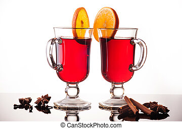 Mulled wine in two glasses on white