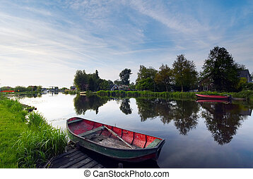boats water and reflection - A landscape photo made in the...