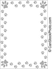 Paw prints border - vector illustration