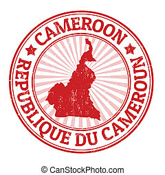 Cameroon stamp - Grunge rubber stamp with the name and map...
