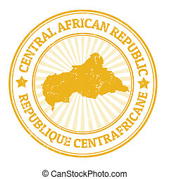 Central African Republic stamp - Grunge rubber stamp with...