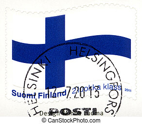 FINLAND - 2011: shows the Finnish flag, the Blue Cross flag...