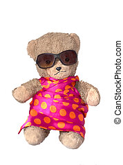 Teddy on holiday - photo of a teddybear in colorful dress...