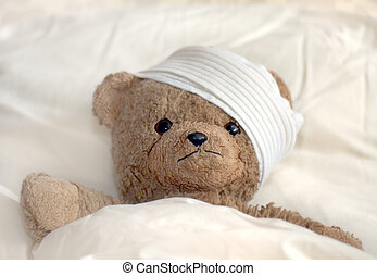 Teddy in hospital - Photo of a teddy bear with bandage