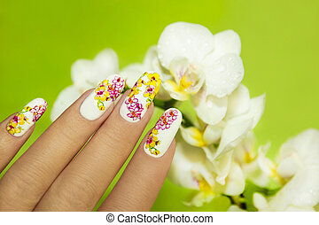 Art nail design . - Art nail design with picture of orchids...