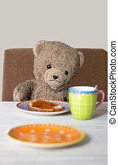 teddy in the morning - teddy is having breakfast