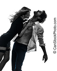 sexy stylish couple lovers silhouette - sexy stylish couple...