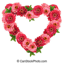 Flower frame - Floral heart frame with pink and red flowers...