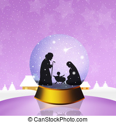 Christmas Nativity Scene in the crystal ball