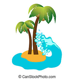 Tropical island and coconut palms