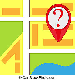 Map icon with red pointer marker - Vector map icon with red...