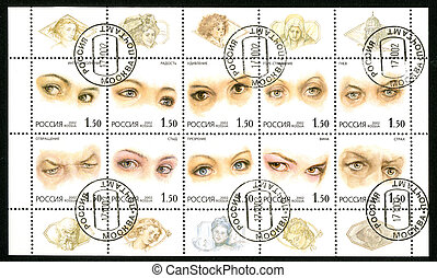 RUSSIA - 2002: shows human eyes - RUSSIA - CIRCA 2002: A...