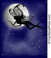 Silhouette fairy girl and moon