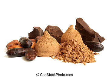 Cacao beans, chocolate, cacao powder and chocolate sweets on...