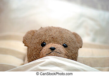Teddy goes to bed - A Teddy in bed