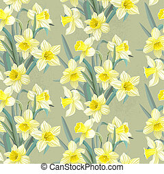 Seamless vintage pattern daffodils - Seamless vintage...
