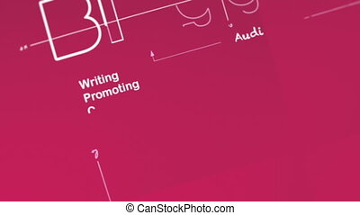 Blogging - Concept animation showing a wireframe 3D model of...
