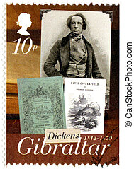 GIBRALTAR - CIRCA 2005 : A stamp printed in Gibraltar shows Charles Dickens (1812-1870), david copperfield, 200th anniversary of Charles Dickens, circa 2012, circa 2005