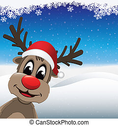 reindeer red nose santa hat winter landscape