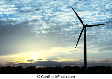 Blue Energy - Windmill in blue colors during sunset