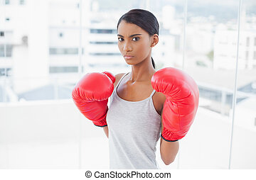 Competitive gorgeous model wearing red boxing gloves in...