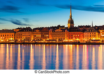 The Old Town in Stockholm, Sweden - Scenis summer evening...
