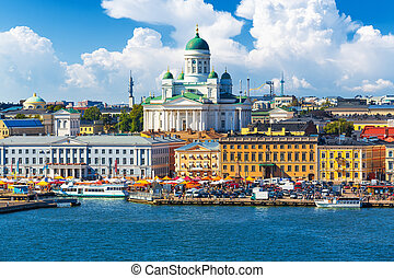 Helsinki, Finland - Scenic summer panorama of the Market...