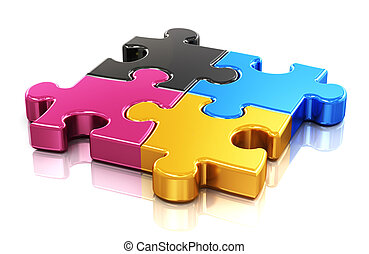 CMYK puzzle - Creative color printing computer technology,...