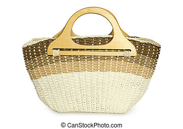 Straw beach basket on a white background
